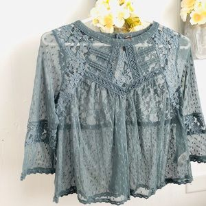 Free people lace sheer top